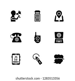 Vector Illustration Of 9 Icons. Editable Pack Speaking, Phone booth, Smartphone, Laptop, Walkie talkie, Speech bubble, Hands free, Telephone, Smartphone