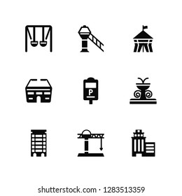 Vector Illustration Of 9 Icons. Editable Pack Swing, Airport tower, Apartment, Fountain, Parking meter, Skyscrapper, Tower crane, Stadium, Circus tent