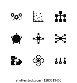 Vector Illustration Of 9 Icons. Editable Pack Settings, Scatter, Puzzle, Connections, Interconnected, Numbe, Update, Pentagon, Diagram