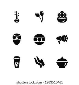 Vector Illustration Of 9 Icons. Editable Pack Veena, Balloon, Thandai, Megaphone, India, Phirni, Pray, Man, Kanji vadas