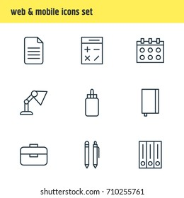 Vector Illustration Of 9 Instruments Icons. Editable Pack Of Portfolio, Copybook, Illuminator And Other Elements.