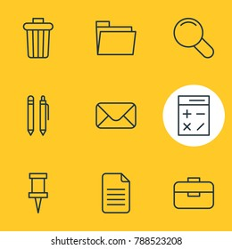 Vector illustration of 9 instruments icons line style. Editable set of letter, pencil, dossier and other elements.