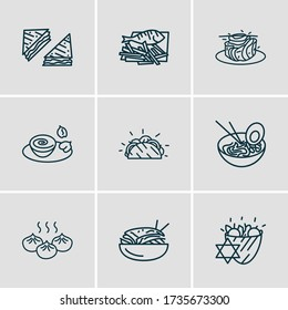 Vector illustration of 9 international food icons line style. Editable set of french ratatouille, english fish with chips, japanese ramen and other icon elements.