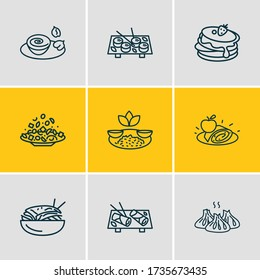 Vector illustration of 9 international food icons line style. Editable set of indian rice with curry, delicious, georgian khinkali and other icon elements.