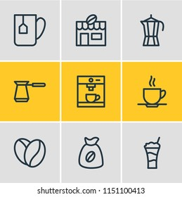 Vector illustration of 9 java icons line style. Editable set of percolator, arabica bean, cafe and other icon elements.