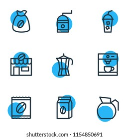 Vector illustration of 9 java icons line style. Editable set of percolator, instant, cold drink and other icon elements.