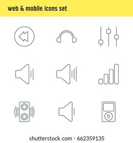 Vector Illustration Of 9 Music Icons. Editable Pack Of Acoustic, Amplifier, Mp3 And Other Elements.