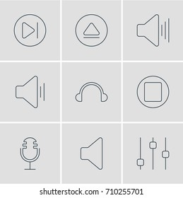 Vector Illustration Of 9 Music Icons. Editable Pack Of Earphone, Subsequent, Audio And Other Elements.