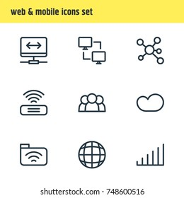 Vector Illustration Of 9 Network Icons. Editable Pack Of Publish, Wifi, Strong And Other Elements.