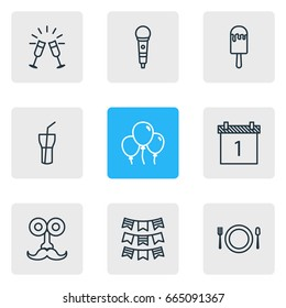 Vector Illustration Of 9 Party Icons. Editable Pack Of Party Flag, Date Block, Cutlery And Other Elements.