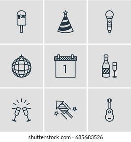 Vector Illustration Of 9 Party Icons. Editable Pack Of Musical Instrument, Cap, Firecracker And Other Elements.
