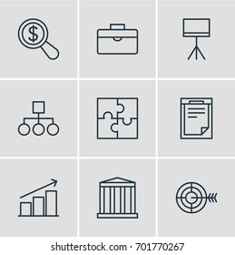 Vector Illustration Of 9 Trade Icons. Editable Pack Of Riddle, Board Stand, File Elements.