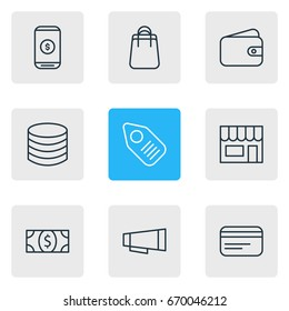 Vector Illustration Of 9 Trading Icons. Editable Pack Of Coins, Mobile, Market And Other Elements.