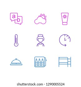 Vector illustration of 9 travel icons line style. Editable set of minibar, sunscreen, reception and other icon elements.
