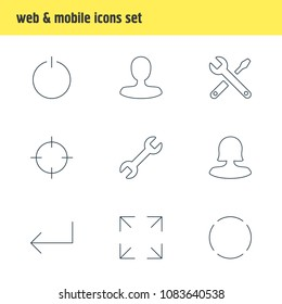 Vector illustration of 9 user icons line style. Editable set of power button, screenshot, reload and other icon elements.