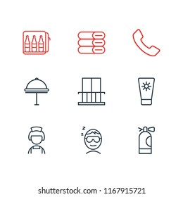 Vector illustration of 9 vacation icons line style. Editable set of telephone, minibar, towels and other icon elements.