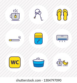 Vector illustration of 9 vacation icons colored line. Editable set of air conditioner, keys, flip flops and other icon elements.