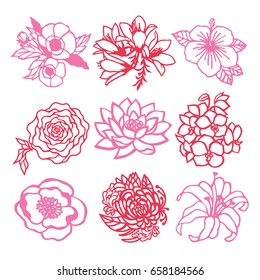 A vector illustration of 9 various flowers in paper cut silhouette style.