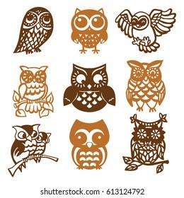 A vector illustration of 9 vintage paper cut owl birds set.