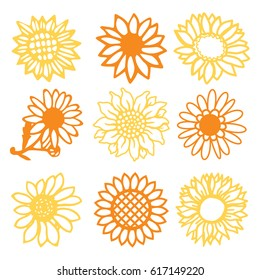 A vector illustration of 9 vintage paper cut sunflowers daisies flowers set.