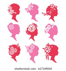 A vector illustration of 9 vintage silhouette cameo women with flowers paper cut designs.