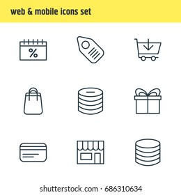 Vector Illustration Of 9 Wholesale Icons. Editable Pack Of Shopping, Money, Payment And Other Elements.