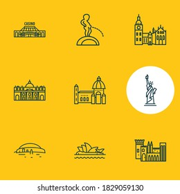 Vector illustration of 9 world landmarks icons line style. Editable set of sydney opera house, manneken pis, florence cathedral and other icon elements.