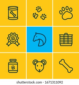 Vector illustration of 9 zoo icons line style. Editable set of horse, hamster cage, pet award and other icon elements.