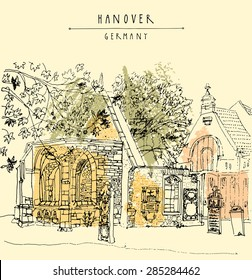 Vector illustration of abandoned church ruins in Hanover, Germany, Europe. Historical building line art. Freehand drawing. Travel sketch with hand lettering. Vintage postcard illustration template