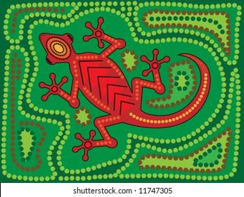 Vector illustration of aboriginal style lizard on green background