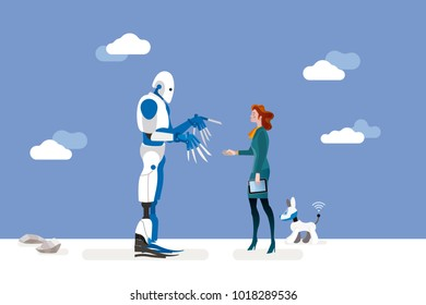 vector illustration about artificial intelligence and his risks. 