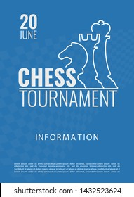 Vector illustration about chess tournament, match, game. Use as advertising, invitation, banner, poster.