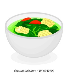 """vector illustration about cooked spinach vegetable, that commonly Indonesians call it as """"Sayur Bening Bayam""""."""