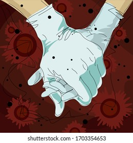 Vector illustration about Covid-19 virus. Human hands in medical gloves. Concept of protection and strength together.