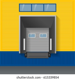 Vector illustration about logistics, transportation. Facade of modern warehouse of yellow and blue sandwich panels with airtight door gates (dock shelter).