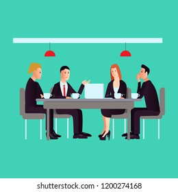 Vector illustration about meeting with business people talking in flat style for posters or web site.Team work process. Business management teamwork meeting and brainstorming.