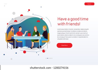 Vector illustration about meeting with friends talking in flat style for posters or web site. Friendship and converstion in cafe or restaurant.