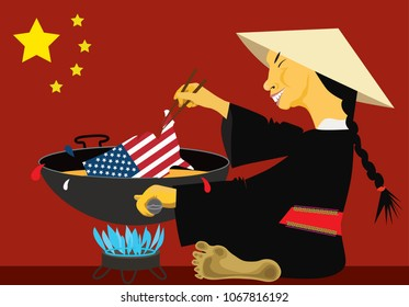 Vector illustration about new customs regulations in China against goods from USA. Chinese point of view.