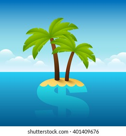 Vector illustration about Panama papers situation. Palm tree growing on a dollar sign.