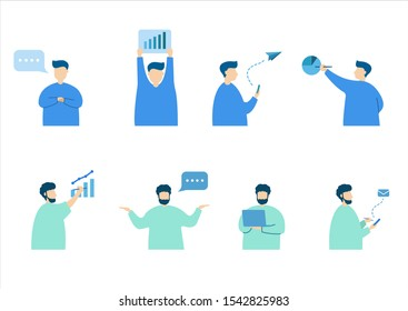 Vector illustration about people, performance gestures, each person's personality, human behavior, lifestyle, character background images