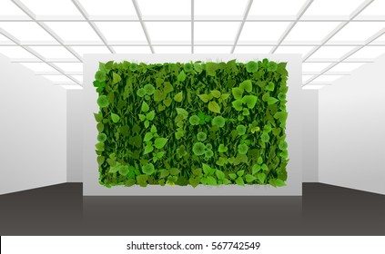 Vector illustration about vertical landscaping of walls in office and home. White modern abstract interior with green wall overgrown with plants.