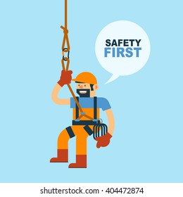 Vector Illustration about Worker and Safety Rope for Climbing, Safety in Workplace.