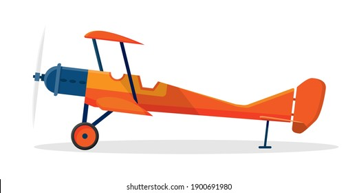 Vector illustration about yellow vintage propeller plane in flat style. EPS 10.