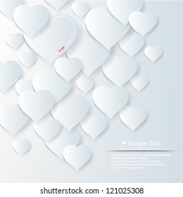 Vector illustration abstract 3D overlapping hearts background design - eps10