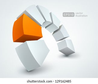 Vector Illustration of abstract 3d shapes, logo design