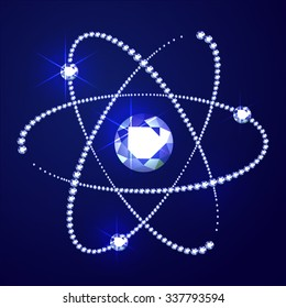 Vector illustration: abstract atom sign made of blue diamonds on blue background