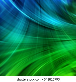 Vector illustration of abstract background with blurred light curved lines. Vector geometric illustration. Blue, green colors.