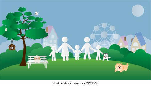 Vector illustration abstract background with Father Mather Boy Girl Son Birds Dogs Tree House and Ferris wheel.Paper art concept.