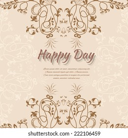 Vector illustration of Abstract background with flowers in vintage style