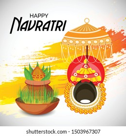 Vector illustration of a Abstract Background for Hindu Festival Happy Navratri.
